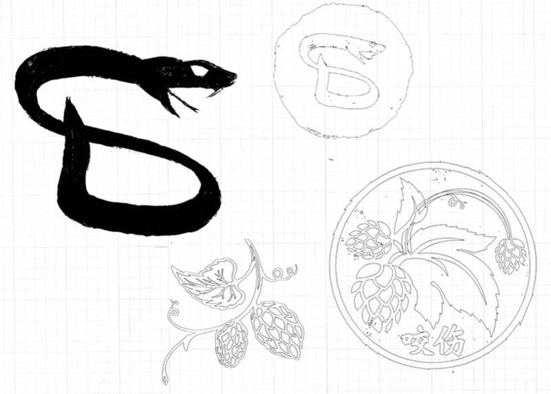 SnakeBite Brewery Business Logo Illustrations