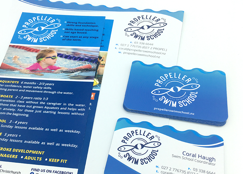 logo design for the propeller swim school in christchurch