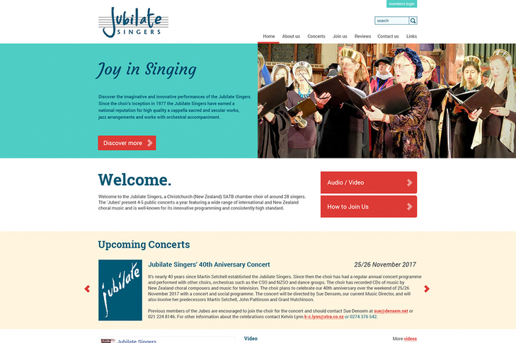 website for jubilate singers Christchurch