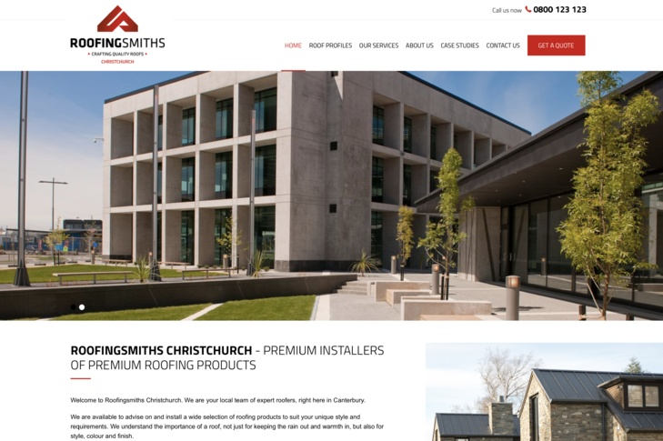 website design for roofing smiths Christchurch