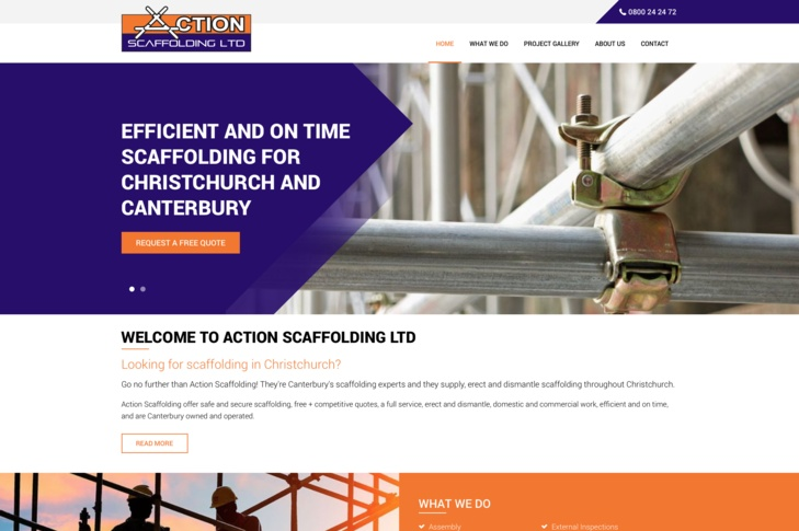 website design for Action Scaffolding