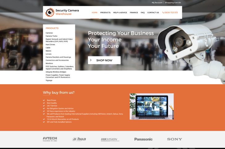 website design for Security Cameras Warehouse Christchurch