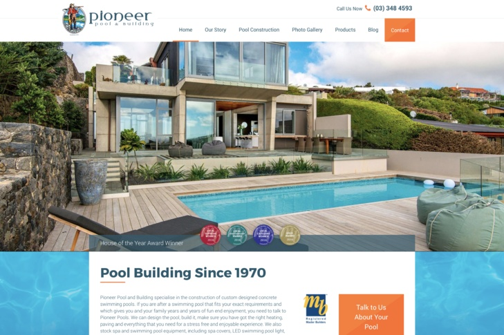 website design for pioneer pools Christchurch