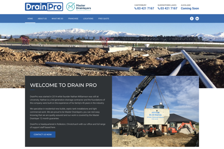 website design for drainpro Christchurch