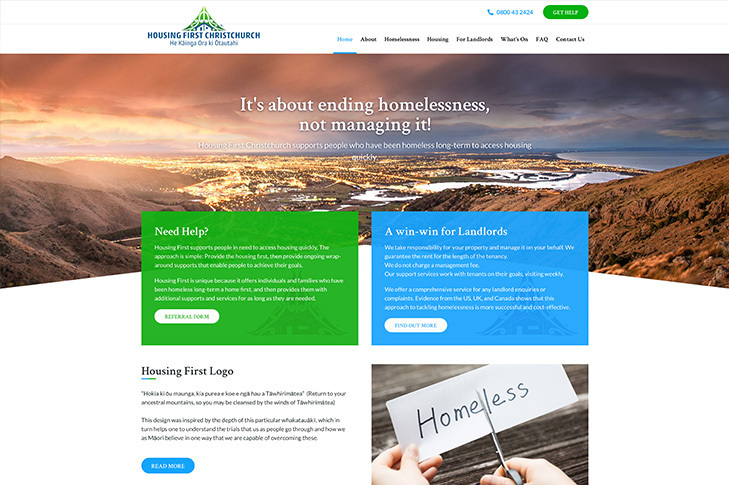 website design for housing first Christchurch