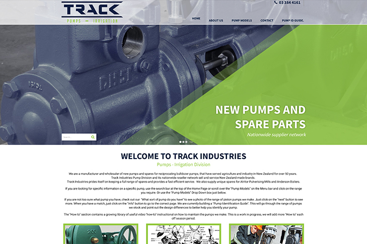 website design for Track Industries Pumps