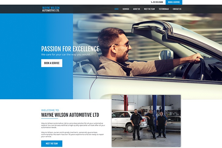 Christchurch website design for Wayne Wilson Auto