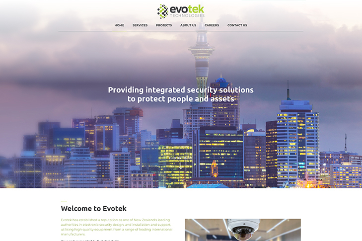 website design for evotek Christchurch