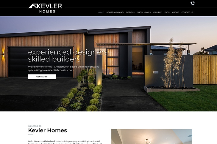website design for Kevler homes Christchurch