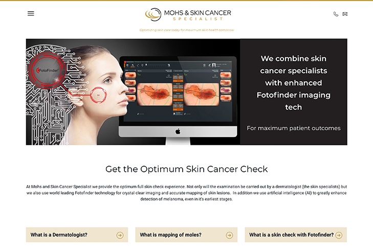 website design for mohs and skin cancer specialist