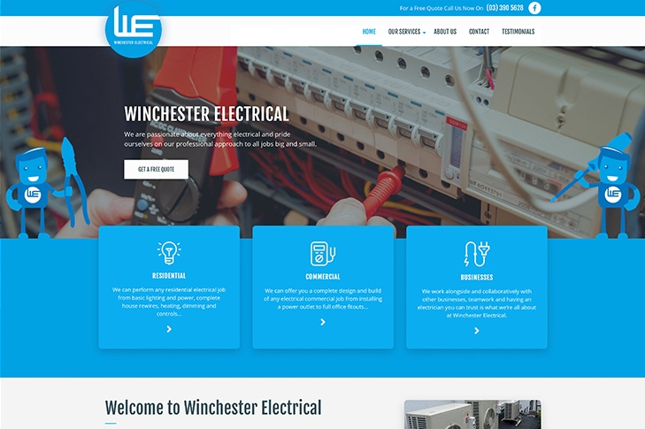 website for Winchester electrical Christchurch