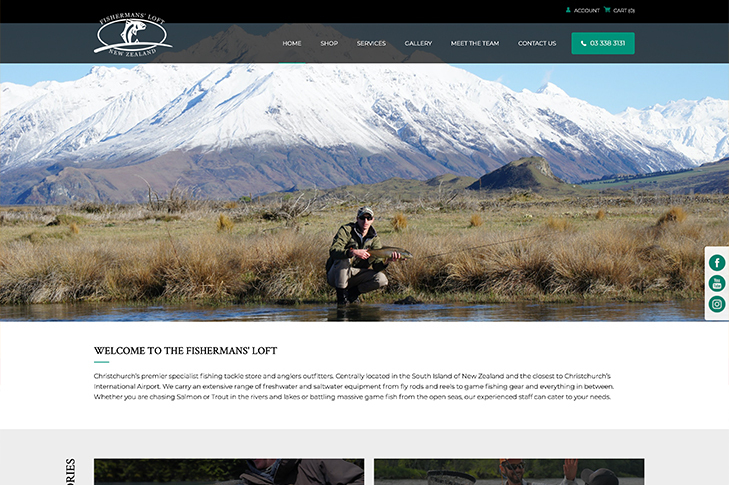 website design for fishermansloft Christchurch